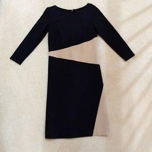 Ann Taylor black/ tan color block 3/4 sleeve dress